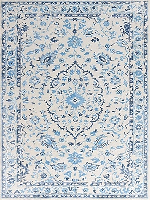 AMER Rugs Artist Hand-Tufted White/Blue Area Rug; Rectangle 7'6'' x 9'6''