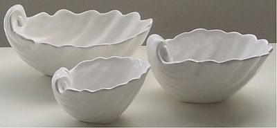 EuroCeramica Ocean City Seashell Salad Bowl; Small