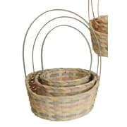 WaldImports 3 Piece White Wash Bamboo Basket Set