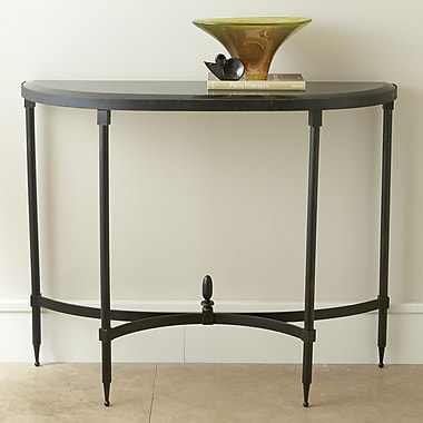 Global Views Fluted Iron Console Table w/ Granite Top