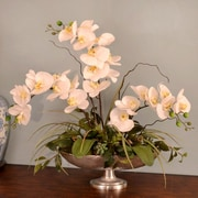 Floral Home Decor Silk Orchid in Pedestal Bowl
