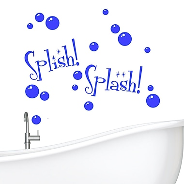 DecaltheWalls Splish Splash w/ Bubbles Wall Decal; Blue