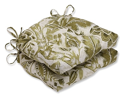 Pillow Perfect Java Tree Moss Cotton Reversible Chair Pad (Set of 2)