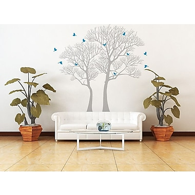 Pop Decors Nature Twin Tree Wall Decal; Grey/Blue