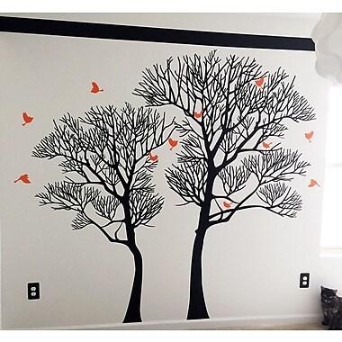 Pop Decors Nature Twin Tree Wall Decal; Black/Orange