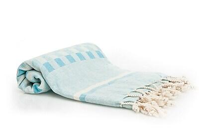 Buldano Hand-Woven Peshtemal Towel , Square weave Fouta; Turquoise