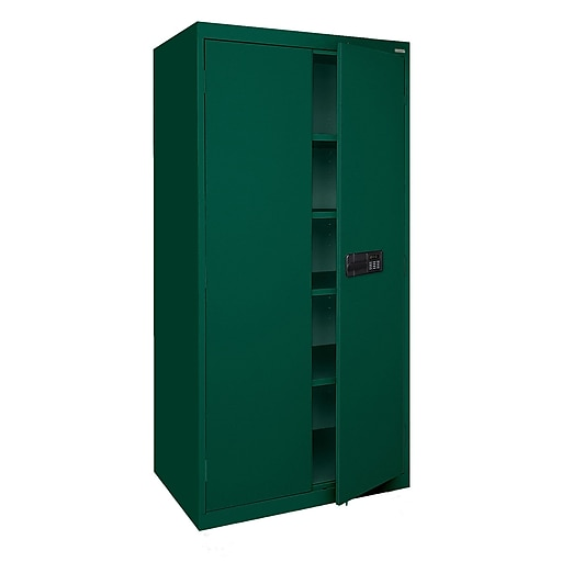"Sandusky Elite 72""H Keyless Electronic Handle Steel Storage Cabinet with 5 Shelves, Forest Green (EA4E362472-08)"