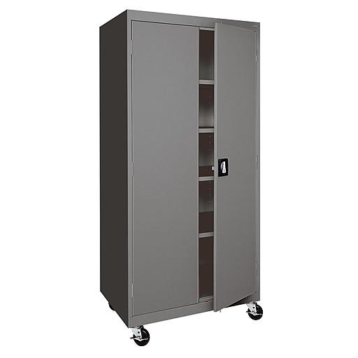 """Sandusky 72""""H Transport Steel Storage Cabinet with 4 Adjustable Shelves, Red (TA4R302460-01)"""