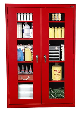 Clear View Storage, 46Wx24Dx72H, Red