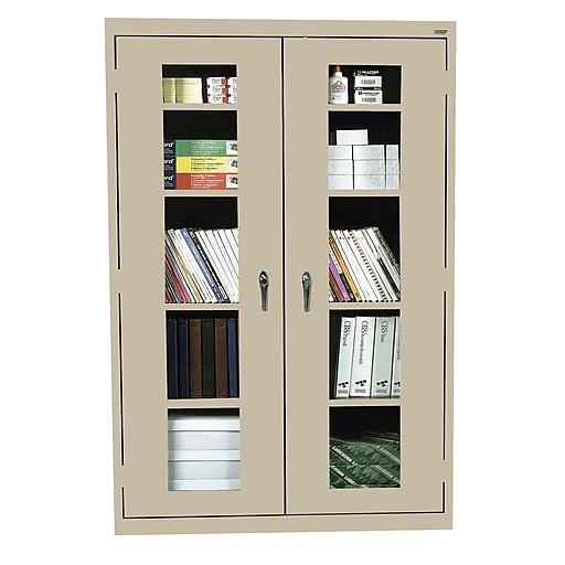 """Sandusky 72""""H Clearview Steel Storage Cabinet with 5 Shelves, Burgundy (EA4V462472-03)"""