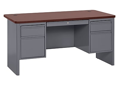 700 Series Teacher Desk 60Wx30Dx29.5H Double Pedestal Charcoal/Mahogany