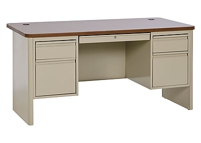 700 Series Teacher Desk 60Wx30Dx29.5H Double Pedestal Putty/Medium Oak