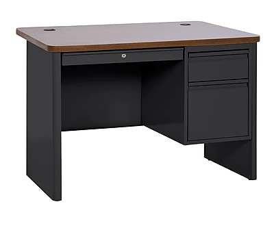 Sandusky 700 Series Teacher Desk, 48W x 30D x 29.5H, Single Pedestal, Black/Medium Oak