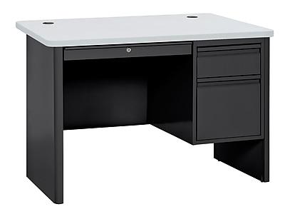 Sandusky 700 Series Teacher Desk, 48W x 30D x 29.5H, Single Pedestal, Black/Grey Nebula
