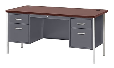 600 Series Teachers Desk Double Pedestal 60Wx30Dx29.5H Charcoal/Mahogany