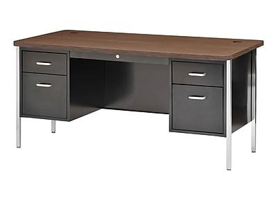 600 Series Teachers Desk Double Pedestal 60Wx30Dx29.5H Black/Walnut