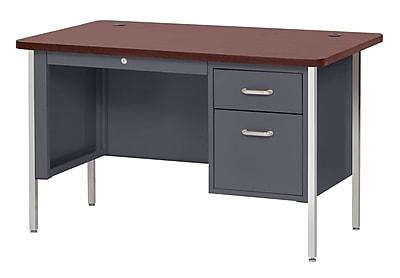 600 Series Teachers Desk Single Pedestal 60Wx30Dx29.5H Charcoal/Mahogany