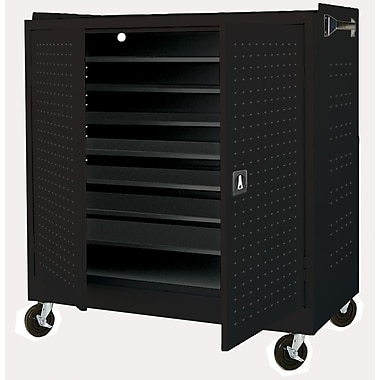 Mobile Laptop Security Cabinet 46Wx24Dx52H Optional Electronic Power Charge System Black