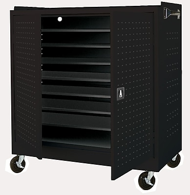 Sandusky Mobile Laptop Security Cabinet, 46W x 24D x 52H, Optional Electronic Power Charge System, Black