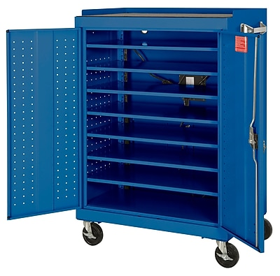 Sandusky Mobile Laptop Security Cabinet, 46W x 24D x 52H, Optional Electronic Power Charge System, Blue