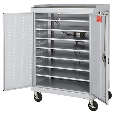 Mobile Laptop Security Cabinet 46Wx24Dx52H Optional Electronic Power Charge System Dove Gray