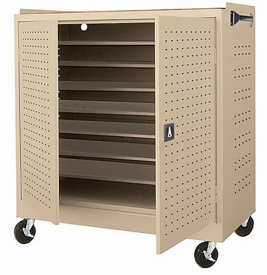 Sandusky Mobile Laptop Security Cabinet, 46W x 24D x 52H, Optional Electronic Power Charge System, Tropic Sand