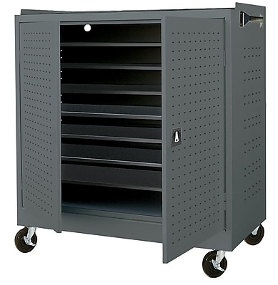 Sandusky Mobile Laptop Security Cabinet, 46W x 24D x 52H, Charcoal