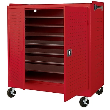 Mobile Laptop Security Cabinet 46Wx24Dx52H Red