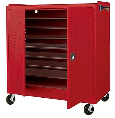Sandusky Mobile Laptop Security Cabinet, 46W x 24D x 52H, Red