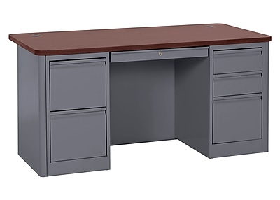 900 Series Teacher Desk 60Wx30Dx29.5H Double Pedestal Charcoal/Mahogany