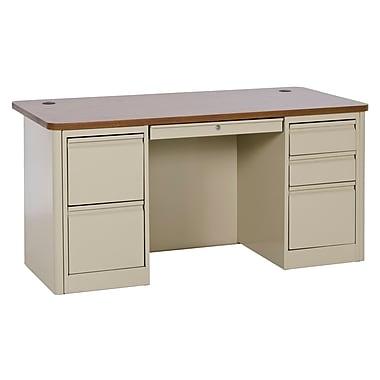 900 Series Teacher Desk 60Wx30Dx29.5H Double Pedestal Putty/Medium Oak