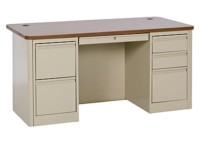 900 Series Teacher Desk 60Wx30Dx29.5H Double Pedestal Put/Medium Oak