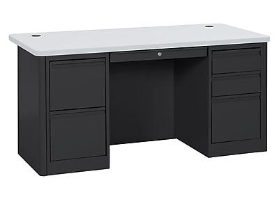 900 Series Teacher Desk 60Wx30Dx29.5H Double Pedestal Black/Grey Nebula
