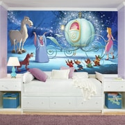 Room Mates Disney Princess Cinderella Carriage Chair Rail Prepasted Wall Mural