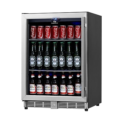 Kingsbottle KBU50B-SS Stainless Steel 300 Can Beverage Fridge