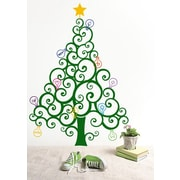 Pop Decors Christmas Tree w/ Colorful Bulbs Wall Decal; Dark Green