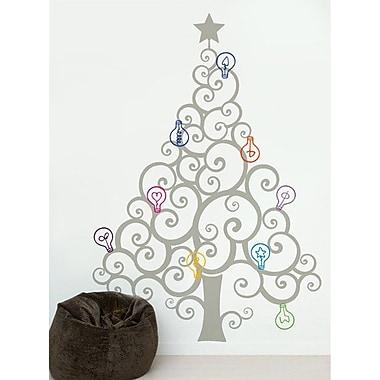 Pop Decors Christmas Tree w/ Colorful Bulbs Wall Decal; Grey