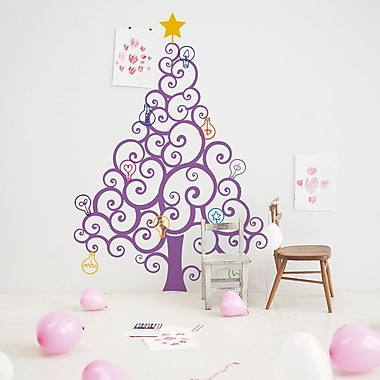 Pop Decors Christmas Tree w/ Colorful Bulbs Wall Decal; Lilac