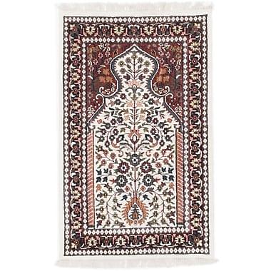 ECARPETGALLERY Kashmir Kerman Hand-Knotted Cream/Brown Area Rug