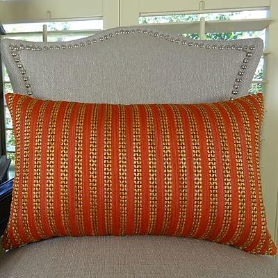 Plutus Brands Tied Rows Lumpar Pillow; 12'' H x 20'' W