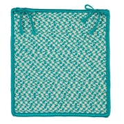 Colonial Mills Outdoor Houndstooth Tweed Chair Pad (Set of 4); Turquoise