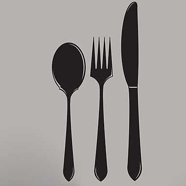 SweetumsWallDecals Spoon Fork Knife Wall Decal; Black