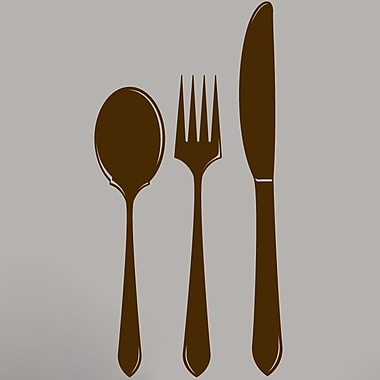 SweetumsWallDecals Spoon Fork Knife Wall Decal; Brown