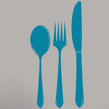 SweetumsWallDecals Spoon Fork Knife Wall Decal; Teal