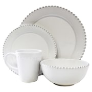 Design Guild Bianca Bead Round 16 Piece Dinnerware Set; White
