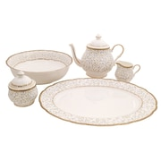 Flores Bone China Traditional Serving 5 Piece Place Setting, Service for 1