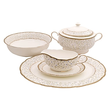 Shinepukur Ceramics USA, Inc. Flores Bone China Special Serving 5 Piece Dinnerware Set
