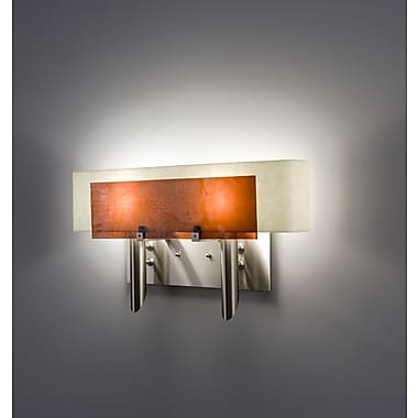 WPT Design Dessy 2-Light Wall Sconce; Mosaic Amber / Curved Back Snow