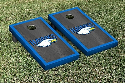 Victory Tailgate NCAA Onyx Stained Border Version Cornhole Bag Toss Game Set; Hilbert Hawks