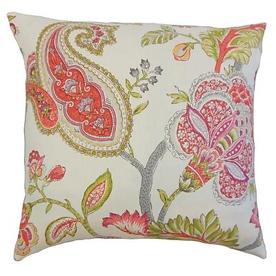 The Pillow Collection Janne Floral Linen Throw Pillow; 18'' x 18''